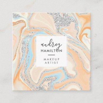 elegant peach blue marble silver glitter makeup square business card