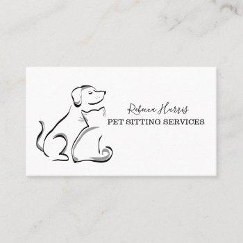 elegant pet sitting services business card