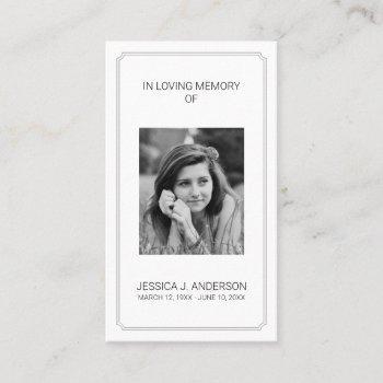 elegant photo memorial sympathy prayer card
