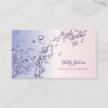 elegant pink and purple splash events bartender business card