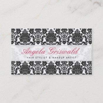 elegant pink & black damask business cards