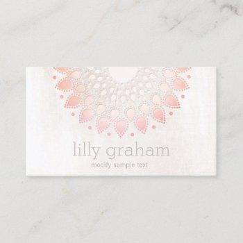 elegant pink coral floral lotus white marble business card