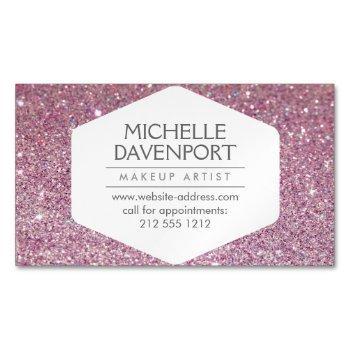 elegant pink glitter magnetic business card