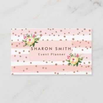 elegant pink glitter rose gold confetti trendy business card