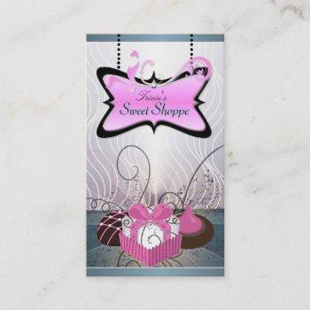 elegant pink & purple swirl cookiebusiness card