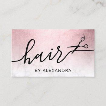 elegant pink rose gold marble scissors hairstylist business card