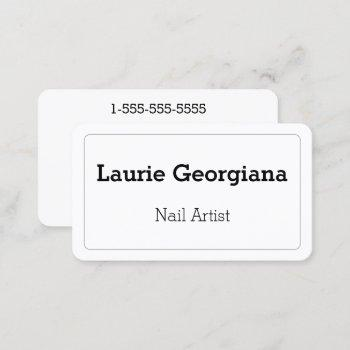 elegant & plain nail artist business card