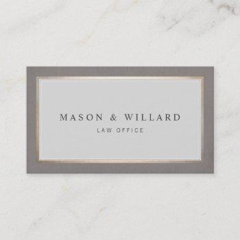 elegant professional attorney gold border business card