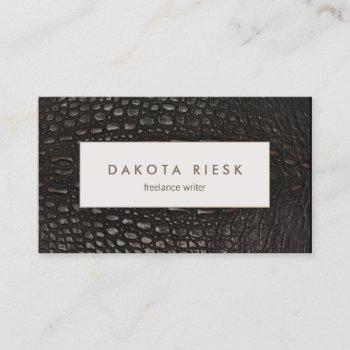 elegant professional black alligator leather business card