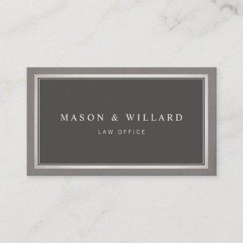 elegant professional charcoal gray business card
