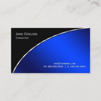 elegant professional modern black  bright blue business card