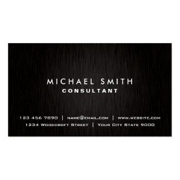 Small Elegant Professional Plain Black Modern Metal Look Business Card Front View