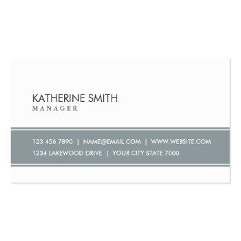Small Elegant Professional Plain Simple Gray And White Business Card Front View