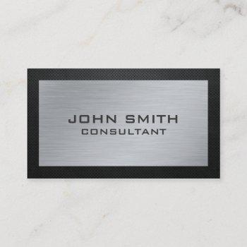 elegant professional silver metal black groupon business card