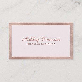 elegant rose gold foil border on blush pink business card