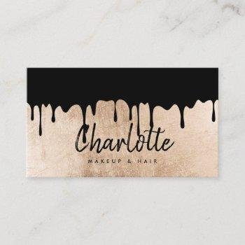 elegant rose gold foil drips name script makeup business card