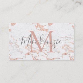 elegant rose gold foil   white marble   monogram business card