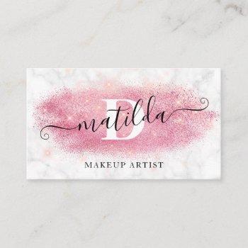 elegant rose gold glitter marble makeup artist business card