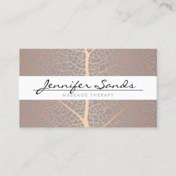 elegant rose gold leaf tree pattern business card