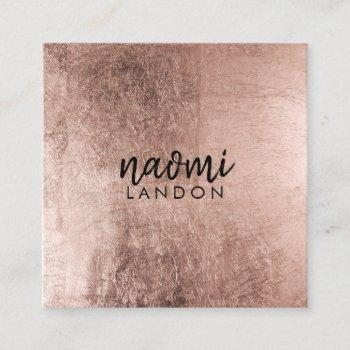 elegant rose gold modern square minimalist black square business card