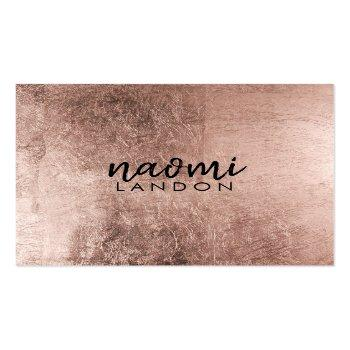 Small Elegant Rose Gold Modern Square Minimalist Black Square Business Card Front View