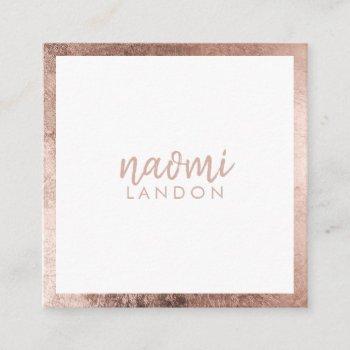 elegant rose gold modern square minimalist white square business card