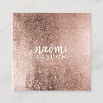 elegant rose gold modern square minimalist white square business card