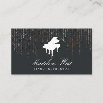 elegant rose gold piano instructor music teacher business card