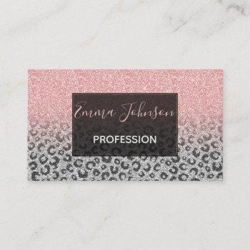 elegant rose gold & silver glitter leopard print business card