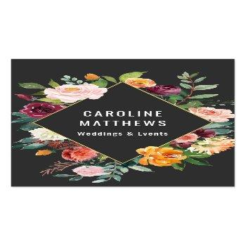 Small Elegant Rustic Watercolor Floral Business Card Front View