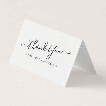 elegant script business logo mini thank you card