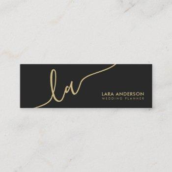 elegant script gold black modern monogram initials mini business card