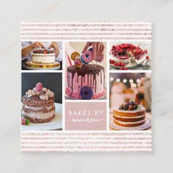 elegant script pink glitter photo collage bakery square business card