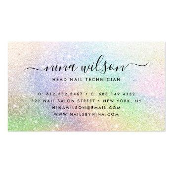 Small Elegant Script Signature Holograph Rainbow Glitter Business Card Back View