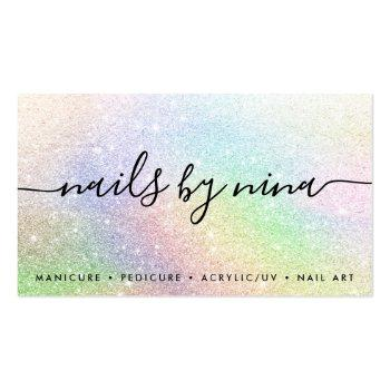 Small Elegant Script Signature Holograph Rainbow Glitter Business Card Front View