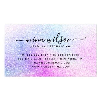 Small Elegant Script Signature Holographic Pink Glitter Business Card Back View