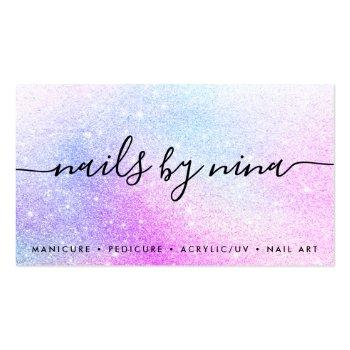 Small Elegant Script Signature Holographic Pink Glitter Business Card Front View