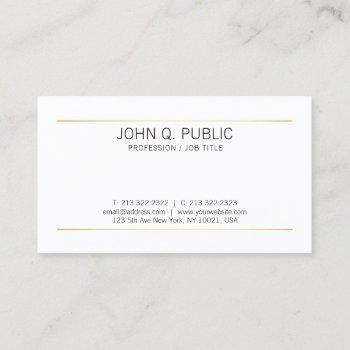elegant sleek plain gold stripes modern white business card