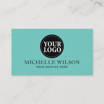 elegant teal aqua minimalist custom logo business card