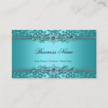 elegant teal blue damask embossed look 2 business card