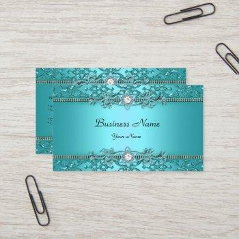 elegant teal blue damask embossed look business card