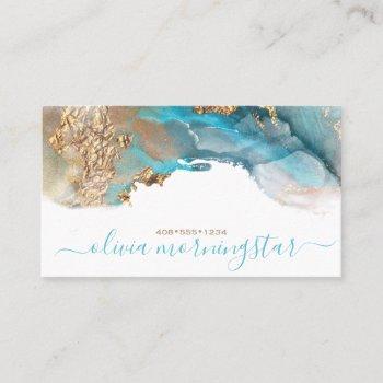 elegant teal gold fluid  alcohol ink business card