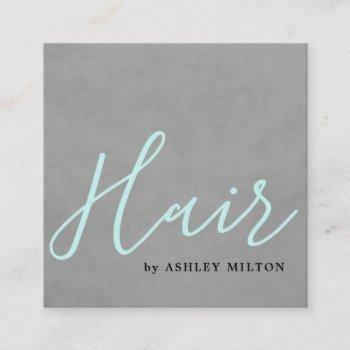 elegant texture grey turquoise typography hair square business card
