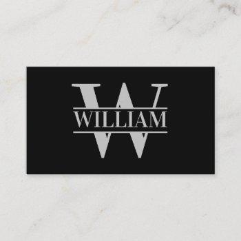elegant trendy modern simple monogram personalized business card