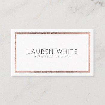 elegant trendy rose gold foil frame minimal modern business card