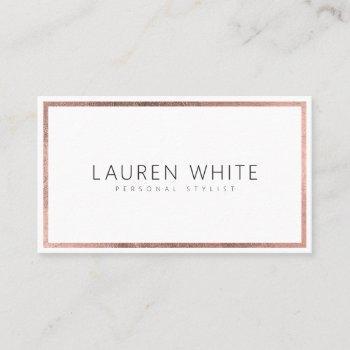 elegant trendy rose gold foil frame minimal modern business card
