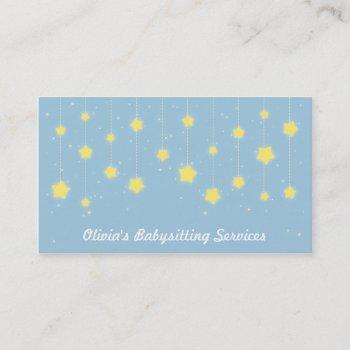 elegant twinkling stars babysitting business cards