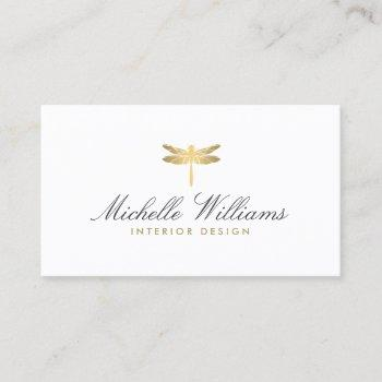 elegant type faux gold dragonfly logo on white business card