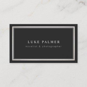 elegant vintage black professsional silver border business card