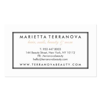 Small Elegant Vintage Chic Floral Striped Beauty Salon Business Card Back View